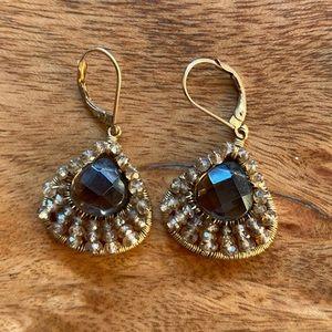 Beaded stone earrings